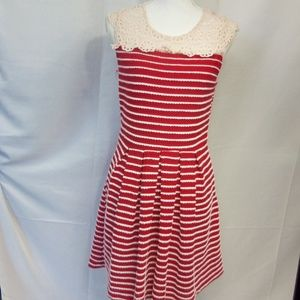 Esley Lace Shouldered Striped Dress in Size M